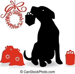 Symbol of the year, dog silhouette holding a gift in the teeth, cartoon on a white background,