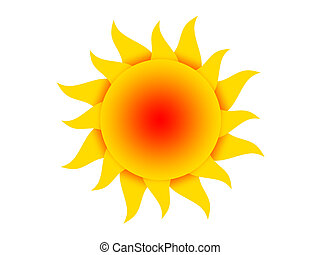 sun - Symbol of the yellow-red sun on a white background