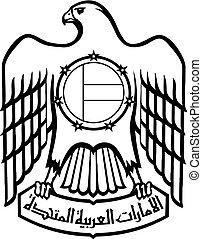 Symbol of United Arab Emirates. Black and white emblem