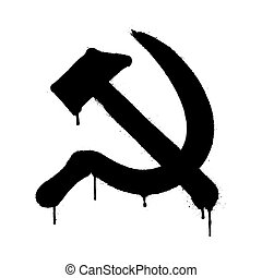 Symbol of USSR communism icon with hammer and sickle. Vector illustration in graffiti style with overspray in black over white.