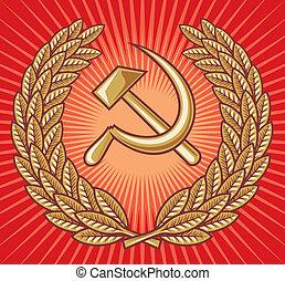 symbol of USSR - hammer, sickle and laurel wreath (ussr sign, soviet symbol, symbol of communism)