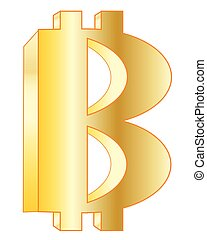 Symbol of virtual currency bitcoin