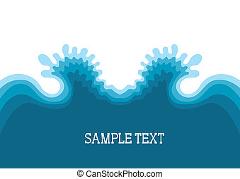 Symbol of Waves.Sea landscape background for text
