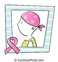 symbol of woman with cancer - portrait of a woman with...