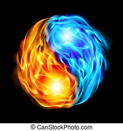 Symbol of yin and yang of the black background in the form...