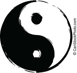 Symbol of yin-yang - Black and white symbol of yin-yang...