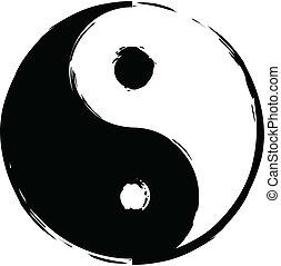 Black and white symbol of yin-yang brush made