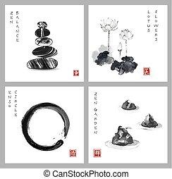 Symbol of zen. Zen balance, enso zen circle, lotus flower and zen garden on white background. Hieroglyph - zen, beauty, happiness, clarity. Traditional Japanese ink painting sumi-e