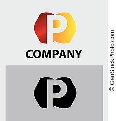 symbol, p, logo, vektor, firma