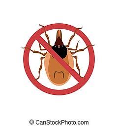 Symbol parasite warning sign. Mite spider. Mite red. Mite allergy. Epidemic. Mite parasites. Vector illustration