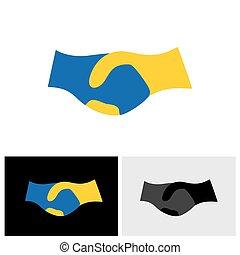 &, symbol, partnerschaft, -, hand, vertrauen, vektor, schütteln, freundschaft, ikone