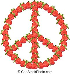 Symbol peace with strawberries