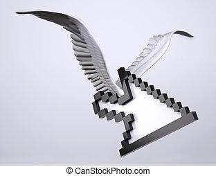 symbol, pegepind, vinger, pil, fugl