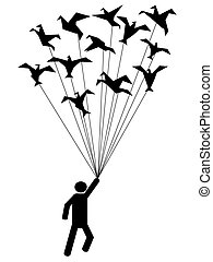 symbol people carried by flying paper birds