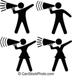 A set of symbol people including cheerleaders shout cheers, announcements, your copy into megaphones.