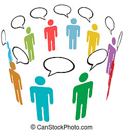 A group of stick figure Symbol People talk in Social Media speech bubbles.