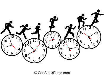 Symbol people run a race in time on clocks