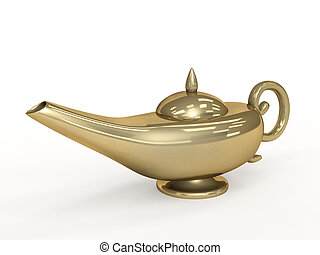 Symbol performance of desires - 3d magic lamp. Objects over white