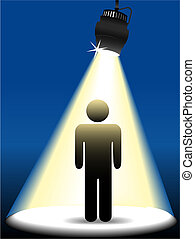 Symbol person on stage in the spotlight - A symbol person...