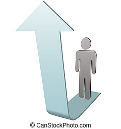 Symbol Person on up arrow to success