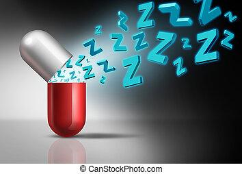 symbol, pille, eingeschlafen