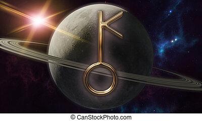 symbol, planet., übertragung, tierkreis, chiron, horoskop, 3d