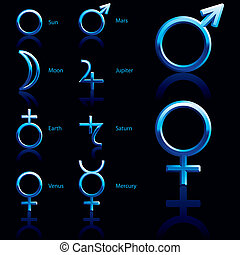 Symbol, planet - Zodiac and astrology symbols of the planets...