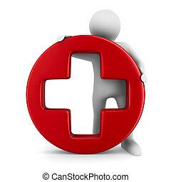 Symbol plus on white background. Isolated 3D image