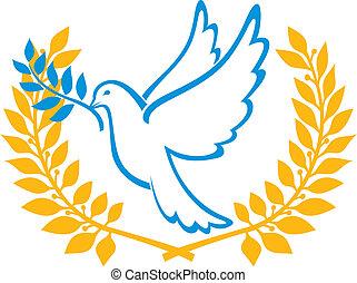 symbol, pokój, gołębica