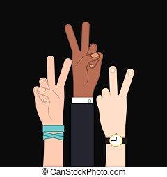 symbol, pokój, miłość, ręka