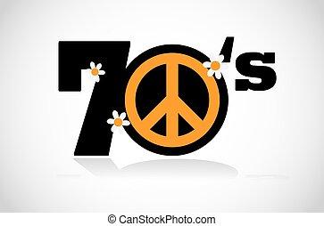symbol, pokój, seventies