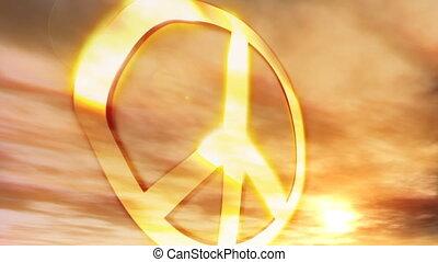 symbol, pokój, zachód słońca, couds, (1181)