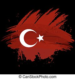 Symbol, poster, banner Turkey. Map of Turkey with the decoration of the national flag. Style watercolor drawing. Vector.