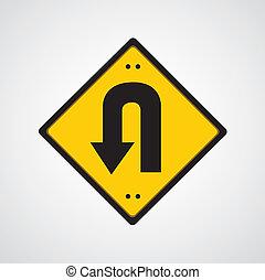 symbol, powrót, żółta droga, znak