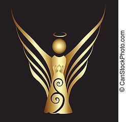 symbol, prydnad, ängel, guld