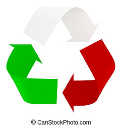 Symbol recycle with italian flag colors, the green, white ...