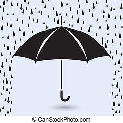 symbol, regen, vektor, schutz, schirm