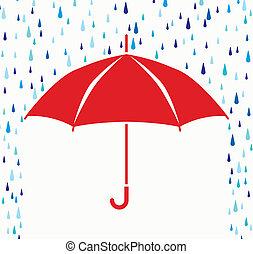 symbol, regen, vektor, schutz, tropfen, schirm
