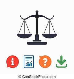 symbol, retfærdighed, tegn, gårdsplads, icon., lov, skalaer