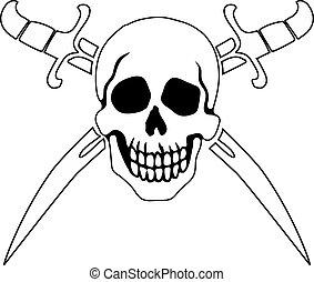 symbol, roger, pirat, lustig