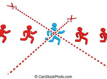 Symbol Runner Cut - Symbolic running figure blue cut by...