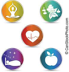 symbol, sätta, hälsa