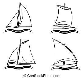 symbol, sæt, båd, samling