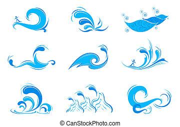 symbol, sæt, bølge