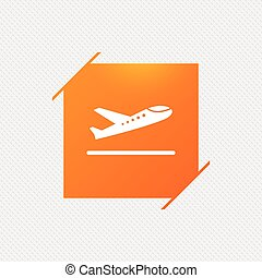 symbol., samolot, start, icon., samolot, przewóz