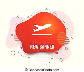 symbol., samolot, wektor, start, samolot, icon., przewóz