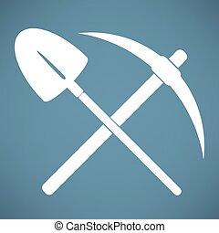 symbol, schaufel, kreuzhacke