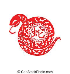 symbol, schlange, lunar