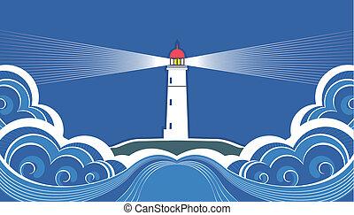 symbol, sea., fyrtårn, blå, card, vektor