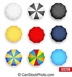 Symbol set of a parasol, top view. Vector.